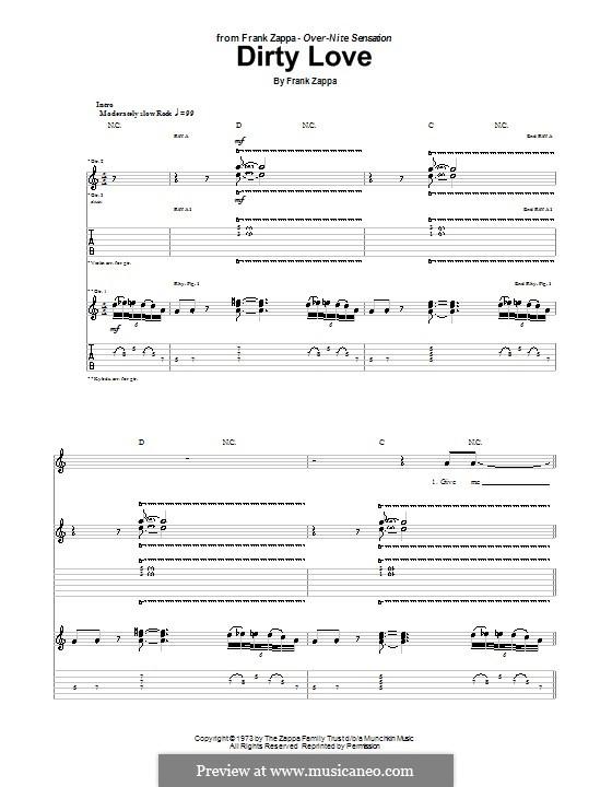 Dirty Love: Для гитары с табулатурой by Frank Zappa