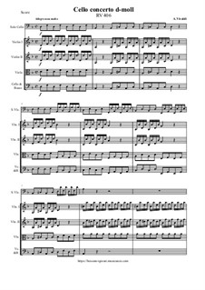 Concerto for Cello and Strings in D Minor, RV 406: Score and all parts by Антонио Вивальди