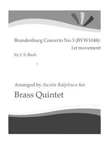 Бранденбургский концерт No.3 соль мажор, BWV 1048: Movement I, for brass quintet by Иоганн Себастьян Бах