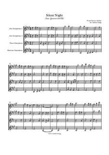 Тихая ночь (ноты для скачивания): For sax quartet AATB by Франц Ксавьер Грубер
