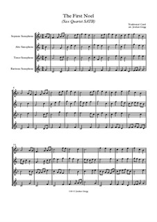 The First Nowell (The First Noël): For sax quartet SATB by folklore