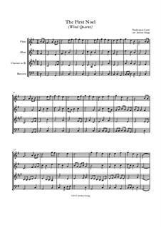 The First Nowell (The First Noël): For wind quartet by folklore