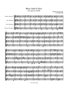 What Child is This (Christmas Carol): For sax quartet SATB by folklore