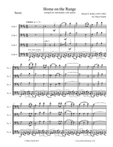 Home on the Range: For intermediate cello quartet (four cellos) by Daniel E. Kelley