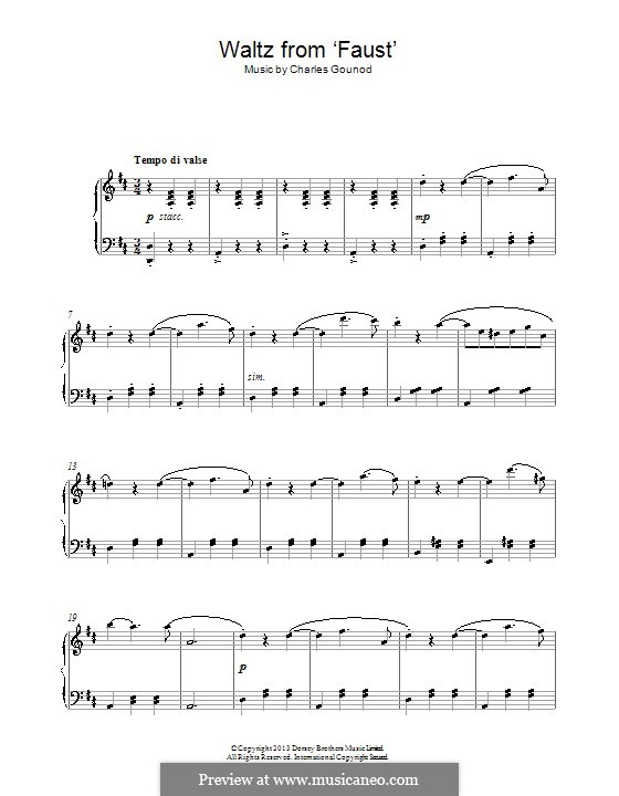 Фауст: Вальс, для фортепиано by Шарль Гуно