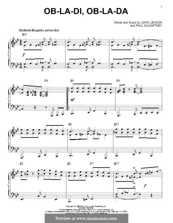Ob-La-Di, Ob-La-Da (The Beatles): Для фортепиано by John Lennon, Paul McCartney