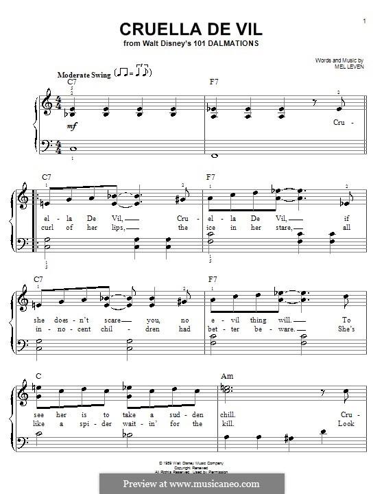 Cruella de Vil (from 101 Dalmatians): Для фортепиано by Mel Leven