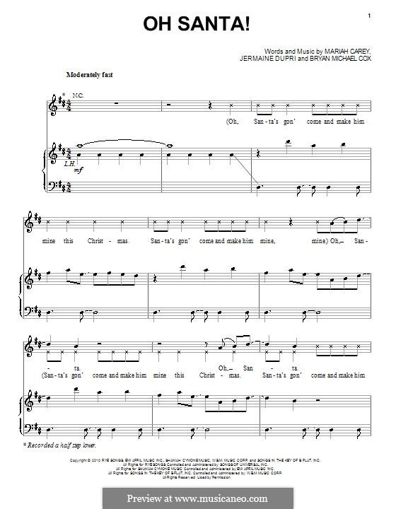 Oh Santa!: Для голоса и фортепиано (или гитары) by Bryan Michael Cox, Jermaine Dupri
