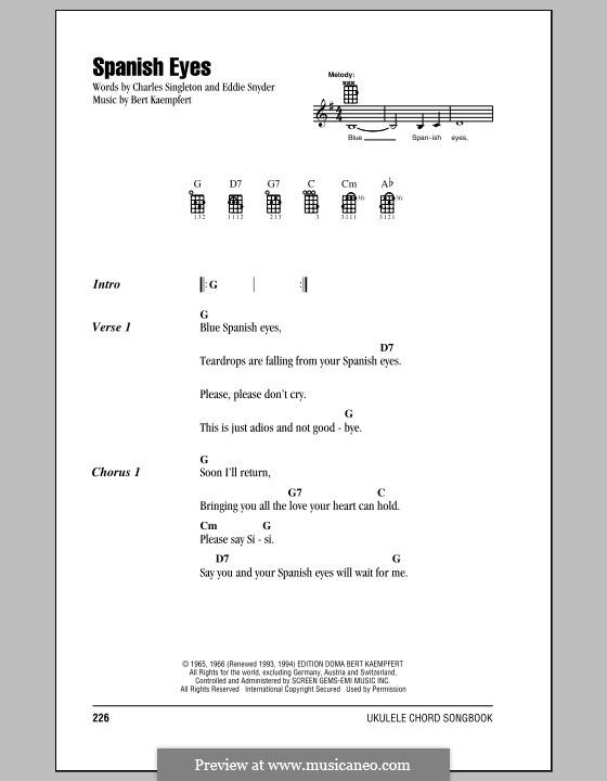 Spanish Eyes (Al Martino): Для укулеле by Bert Kaempfert, Charles Singleton, Eddie Snyder