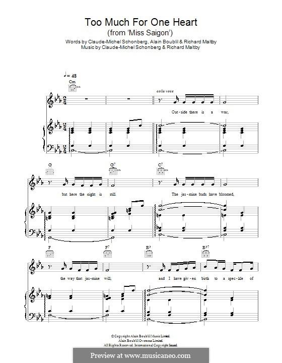 Too Much for One Heart: Для голоса и фортепиано (или гитары) by Claude-Michel Schönberg