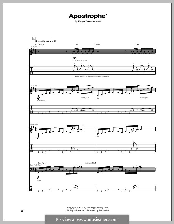 Apostrophe': Для гитары с табулатурой by Frank Zappa