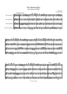 The Minstrel Boy (The Moreen): For sax quartet AATB by folklore