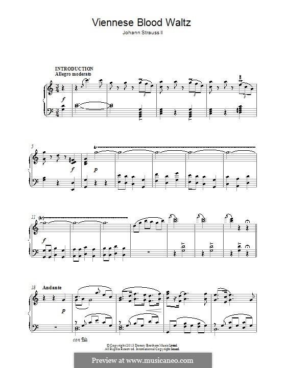 Венская кровь, Op.354: Для фортепиано by Иоганн Штраус (младший)