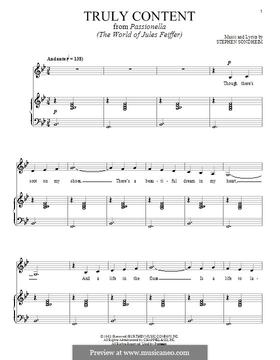 Truly Content: Для голоса и фортепиано by Stephen Sondheim