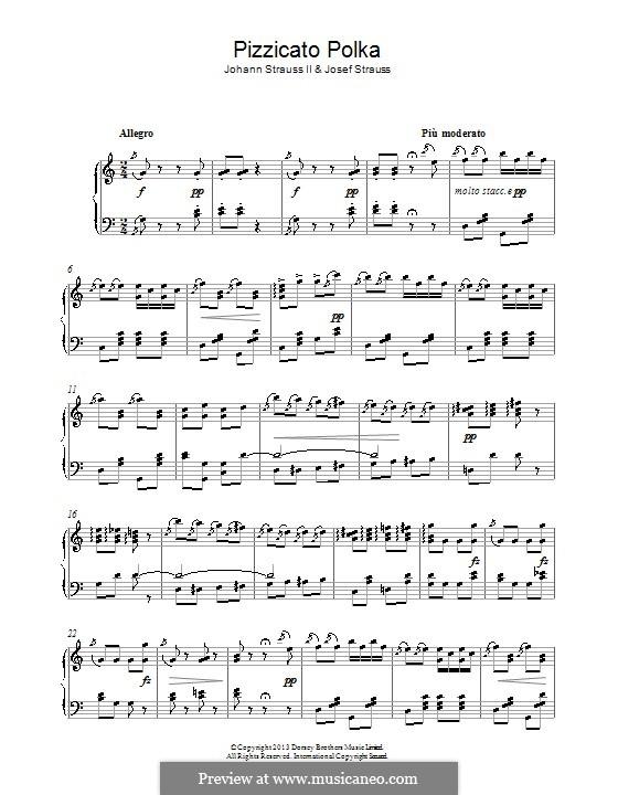 Pizzicato Polka: Для фортепиано by Иоганн Штраус (младший)
