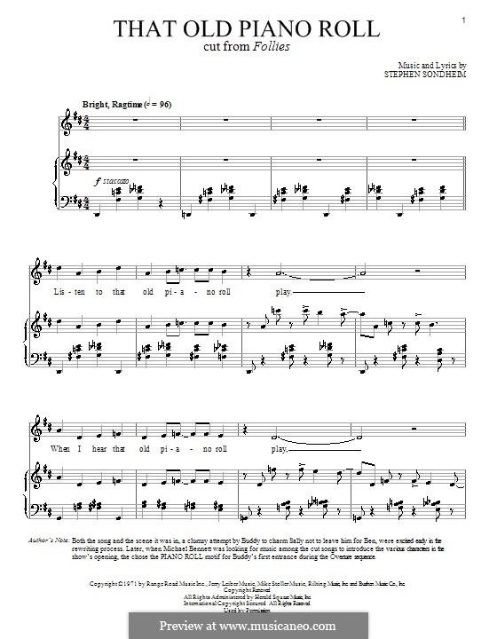 That Old Piano Roll: Для голоса и фортепиано by Stephen Sondheim