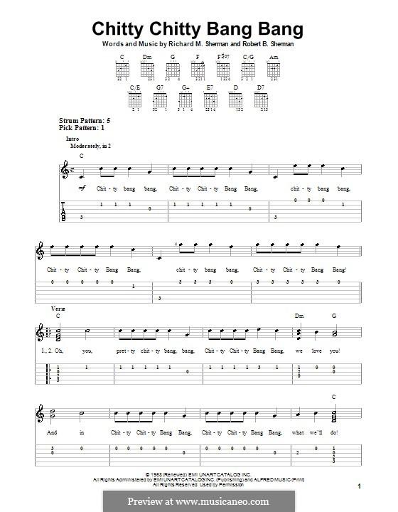 Chitty Chitty Bang Bang: Для гитары с табулатурой by Richard M. Sherman, Robert B. Sherman