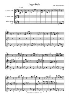 Jingle Bells: For trio clarinete, ML06 by James Lord Pierpont