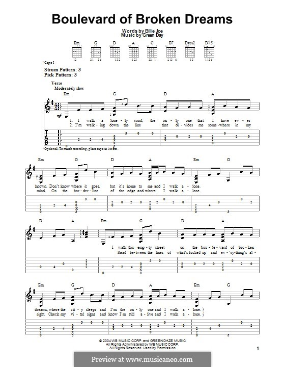 Boulevard of Broken Dreams (Green Day): Для гитары с табулатурой by Billie Joe Armstrong, Tré Cool, Michael Pritchard