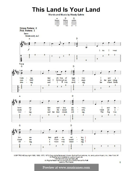 This Land Is Your Land (The New Christy Minstrels): Для гитары с табулатурой by Woody Guthrie