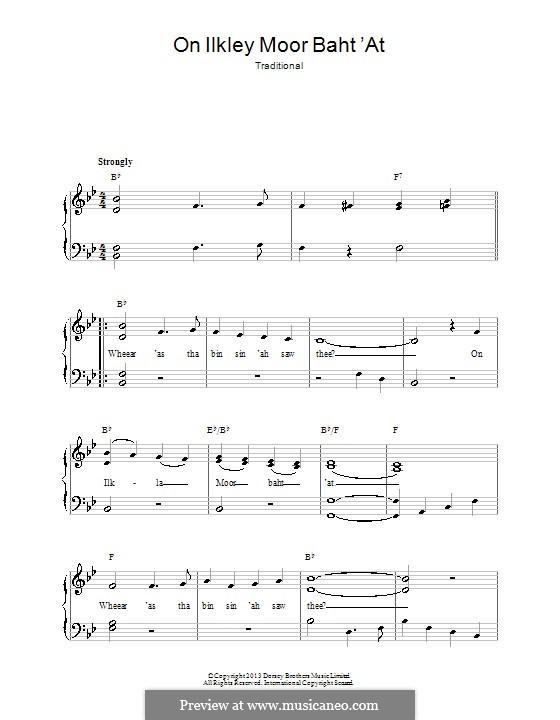 On Ilkley Moor Baht 'At: Для фортепиано by folklore