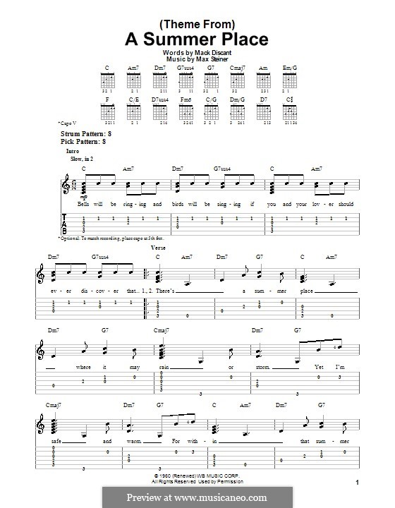 Theme from A Summer Place: Для гитары с табулатурой by Max Steiner