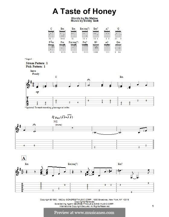 A Taste of Honey (Barbra Streisand): Для гитары с табулатурой by Bobby Scott