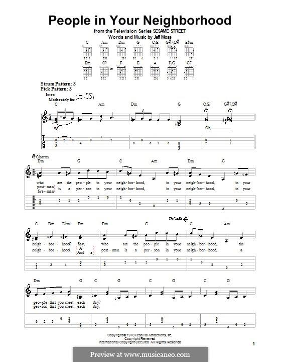 People in Your Neighborhood: Для гитары с табулатурой by Jeff Moss
