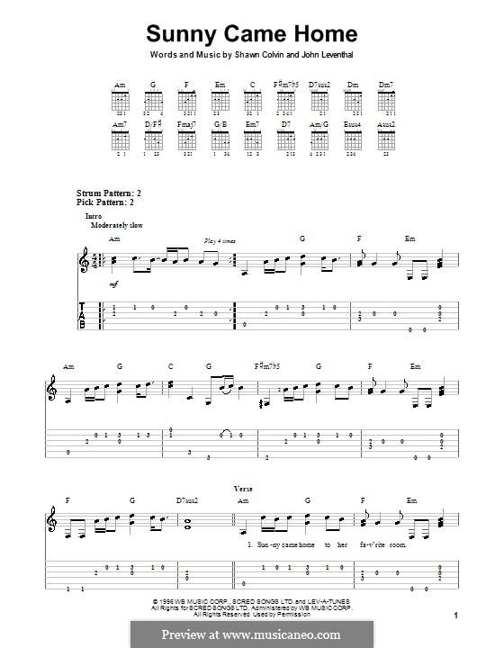 Sunny Came Home: Для гитары с табулатурой by John Leventhal, Shawn Colvin