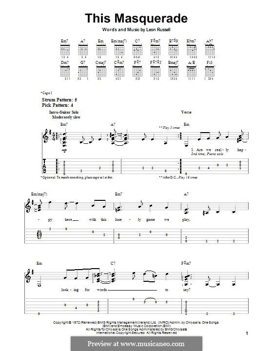 This Masquerade: Для гитары с табулатурой by Leon Russell