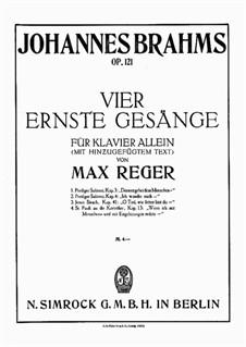 Четыре серьёзных напева, Op.121: Весь сборник by Иоганнес Брамс