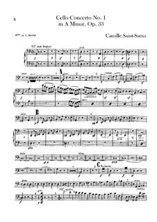 Концерт для виолончели с оркестром No.1 ля минор, Op.33: Партия виолончелей и контрабаса by Камиль Сен-Санс