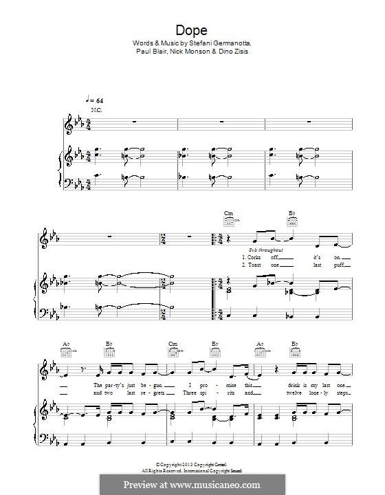 Dope (Lady Gaga): Для голоса и фортепиано (или гитары) by Paul Blair, Stefani Germanotta, Dino Zisis, Nick Monson