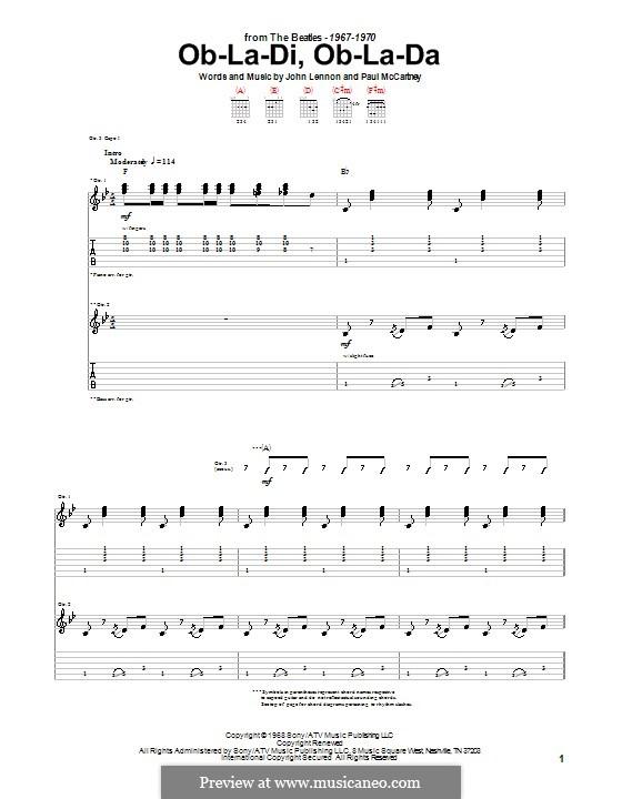 Ob-La-Di, Ob-La-Da (The Beatles): Для гитары с табулатурой by John Lennon, Paul McCartney