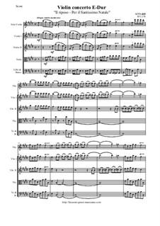 Concerto for Violin and Strings in E Major 'Il riposo - Per il Santissimo Natale', RV 270: Score and all parts by Антонио Вивальди