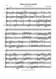 Concerto for Flute and String Orchestra in D Minor, H 426 Wq 22: Score and all parts by Карл Филипп Эммануил Бах