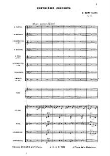 Концерт для фортепиано с оркестром No.4 до минор, Op.44: Партитура by Камиль Сен-Санс