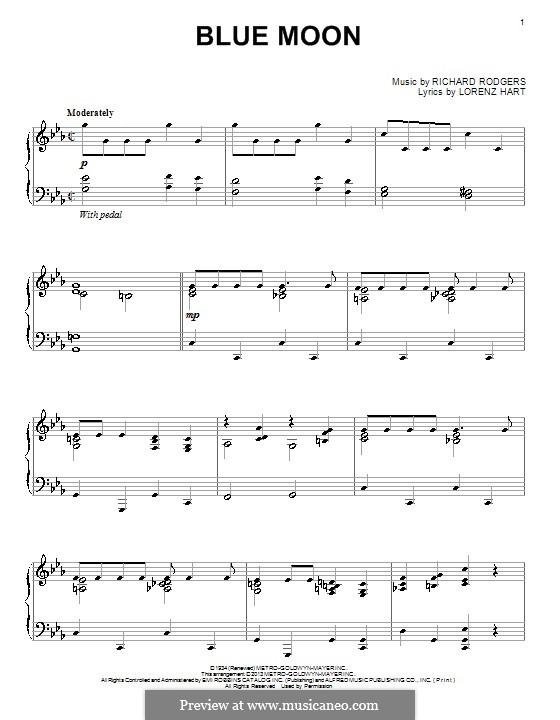 Blue Moon: Для фортепиано by Richard Rodgers