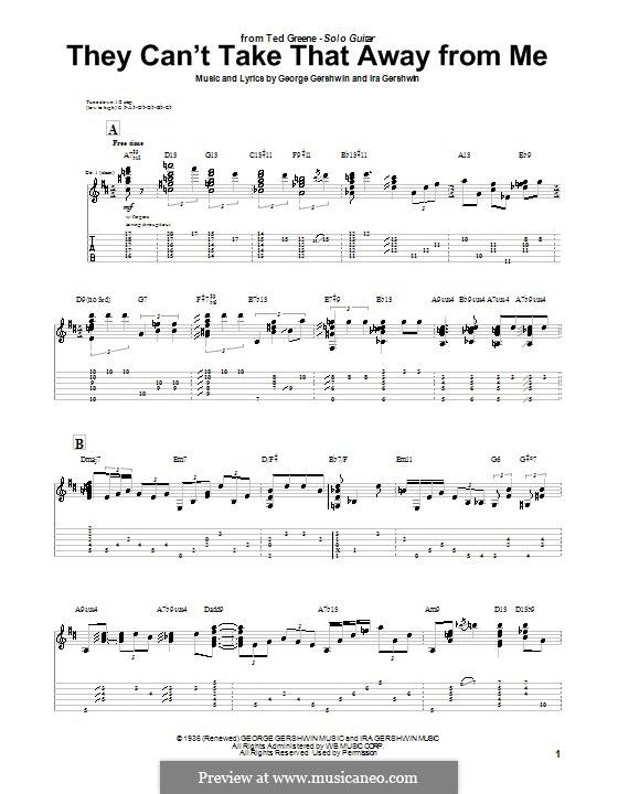 They Can't Take That Away from Me: Для гитары с табулатурой by Джордж Гершвин