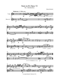 Suite in D for violin and horn, Op.72: Suite in D for violin and horn by Richard Burdick