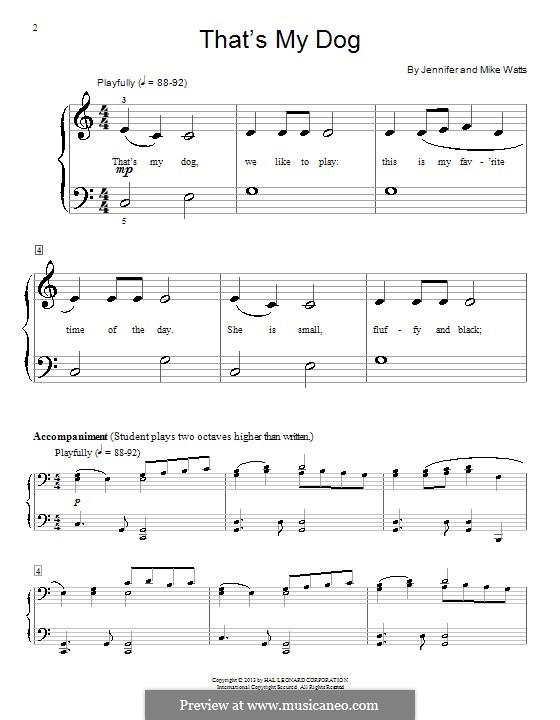 That's My Dog: Для фортепиано by Jennifer Watts, Mike Watts
