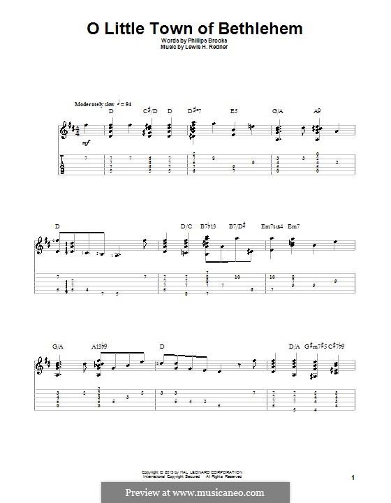 О малый город Вифлеем: Для гитары с табулатурой by Льюис Генри Реднер