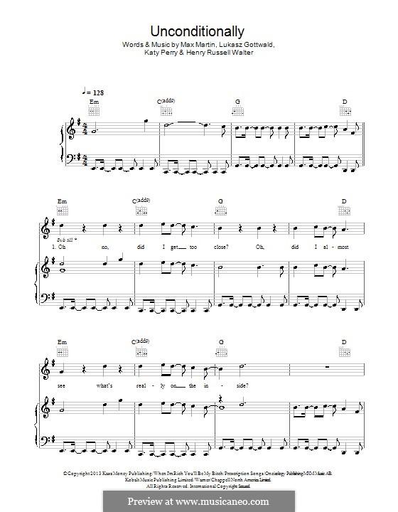 Unconditionally: Для голоса и фортепиано (или гитары) by Katy Perry, Lukas Gottwald, Max Martin, Henry Russell Walter