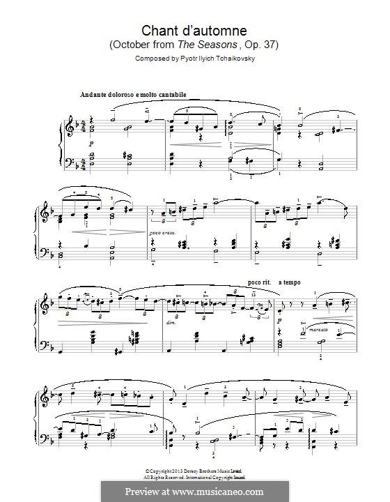 No.10 Октябрь (Осенняя песня): Для фортепиано by Петр Чайковский