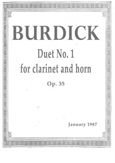 Duet No.1 for clarinet and horn, Op.35: Duet No.1 for clarinet and horn by Richard Burdick