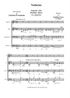 Notturno for choir SABrB a cappella, CS 180S11: Notturno for choir SABrB a cappella by Santino Cara