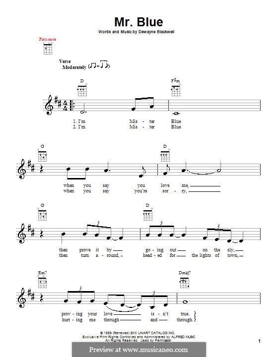 Mr. Blue (Garth Brooks): Для укулеле by Dewayne Blackwell