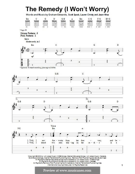 The Remedy (I Won't Worry): Для гитары с табулатурой by Graham Edwards, Lauren Christy, Scott Spock