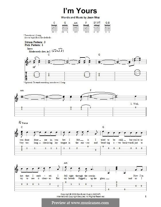 I'm Yours: Для гитары с табулатурой by Jason Mraz