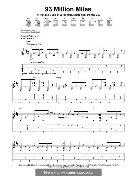 93 Million Miles: Для гитары с табулатурой by Jason Mraz, Michael Natter, Mike Daly